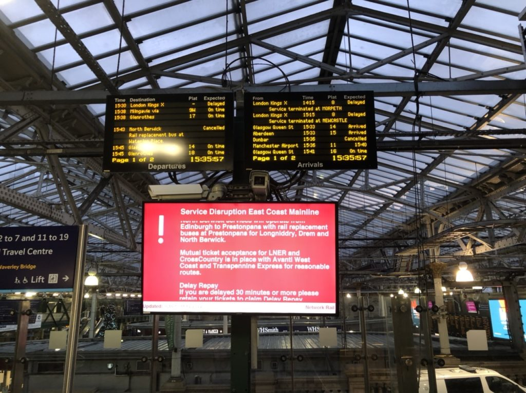 Service disruption East Coast mainline