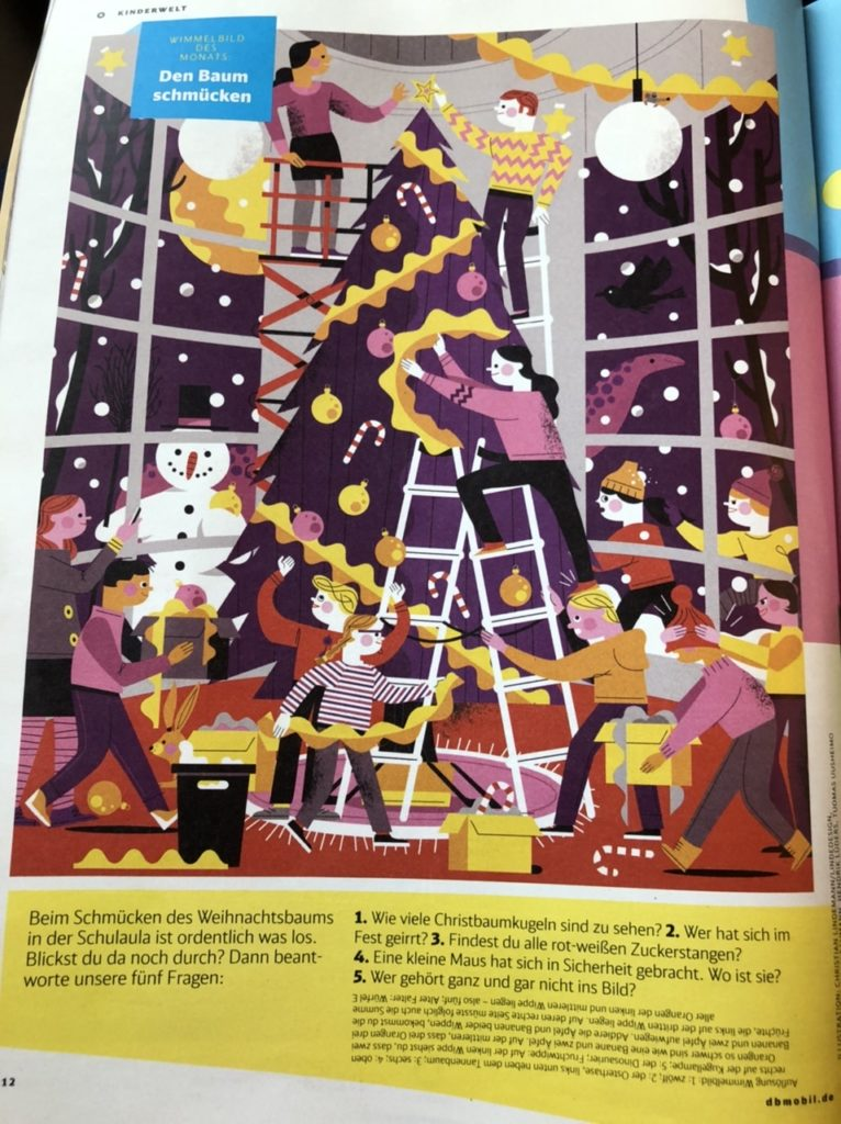 Christmas themed game in the Deutsche Bahn magazine