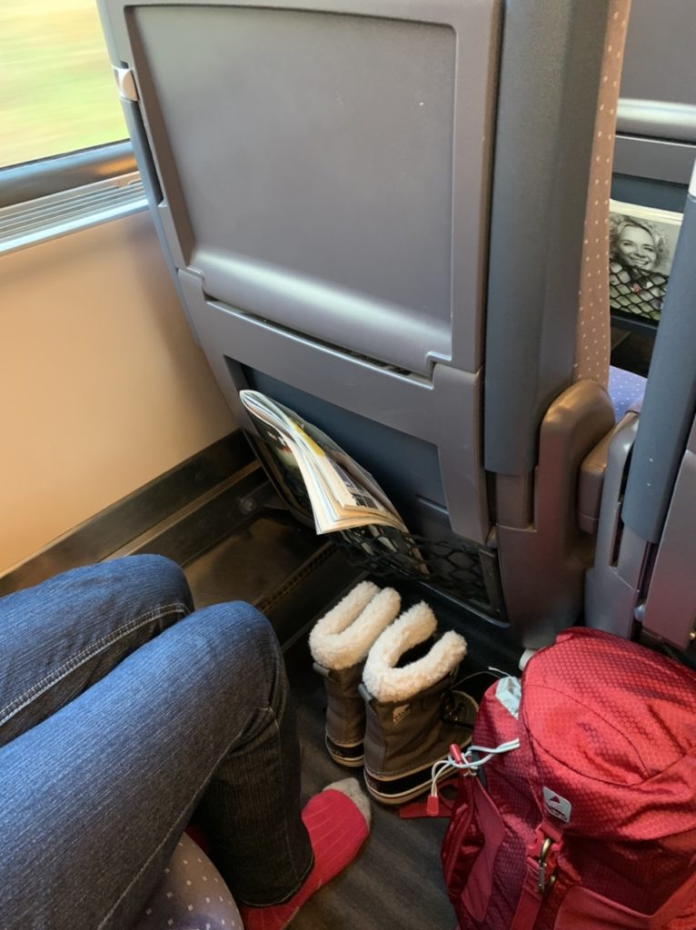 Leg room on the Deutsche Bahn ICE train from Amsterdam to Berlin